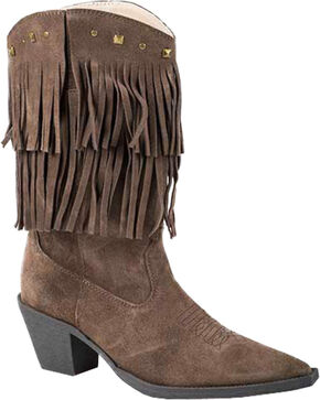 Roper Suede Fringe Cowgirl Boots - Pointed Toe, Brown, hi-res