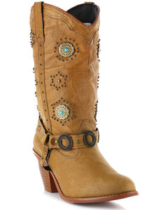 Dingo Addie Retro Concho Harness Boots - Round Toe, , hi-res