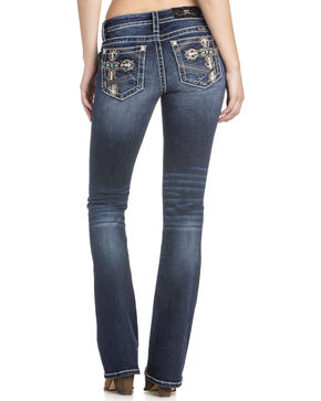 Miss Me Women's Embellished Cross Boot Cut Jeans, Blue, hi-res