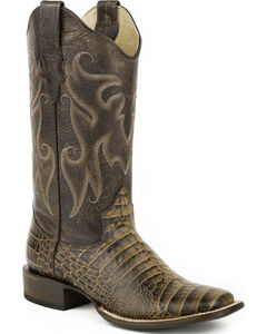 Roper Tan Sanded Croc Belly Print Cowgirl Boots - Square Toe, , hi-res