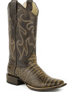 Roper Tan Sanded Croc Belly Print Cowgirl Boots - Square Toe, Tan, hi-res