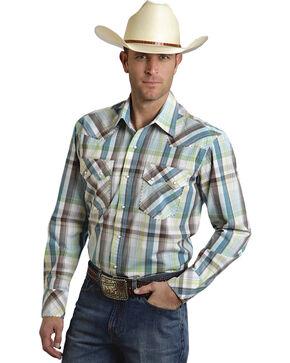 Roper Men's Amarillo Collection Blue & Brown Plaid Snap Long Sleeve Shirt, Blue, hi-res