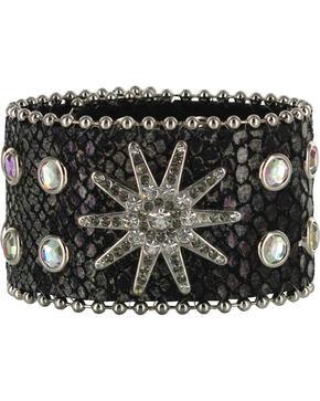 Shyanne® Women's Snake Print Leather Bracelet Band, Black, hi-res