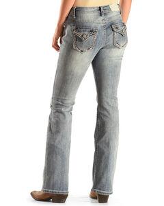 Shyanne Women's Multi-Tonal Stitch Boot Cut Jeans, Blue, hi-res