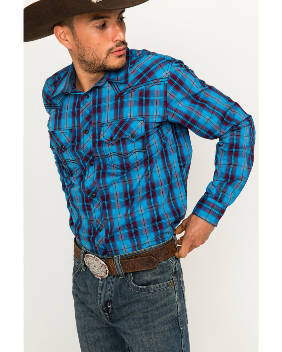 Cody James Men's Plaid Long Sleeve Shirt, Blue, hi-res
