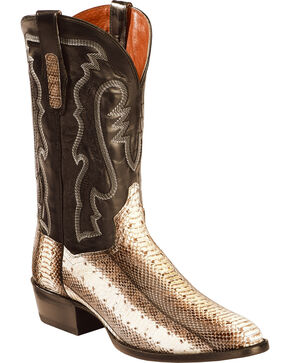 Dan Post Men's Two Tone Water Snake Cowboy Boots - Round Toe , Natural, hi-res