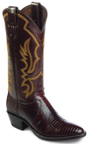 Justin Iguana Lizard Cowboy Boots - Round Toe, Chocolate, hi-res