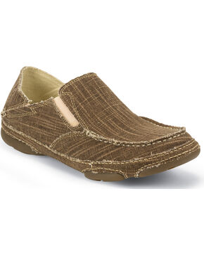 Tony Lama Men's Lindale Straw Slip-On Shoes , Brown, hi-res