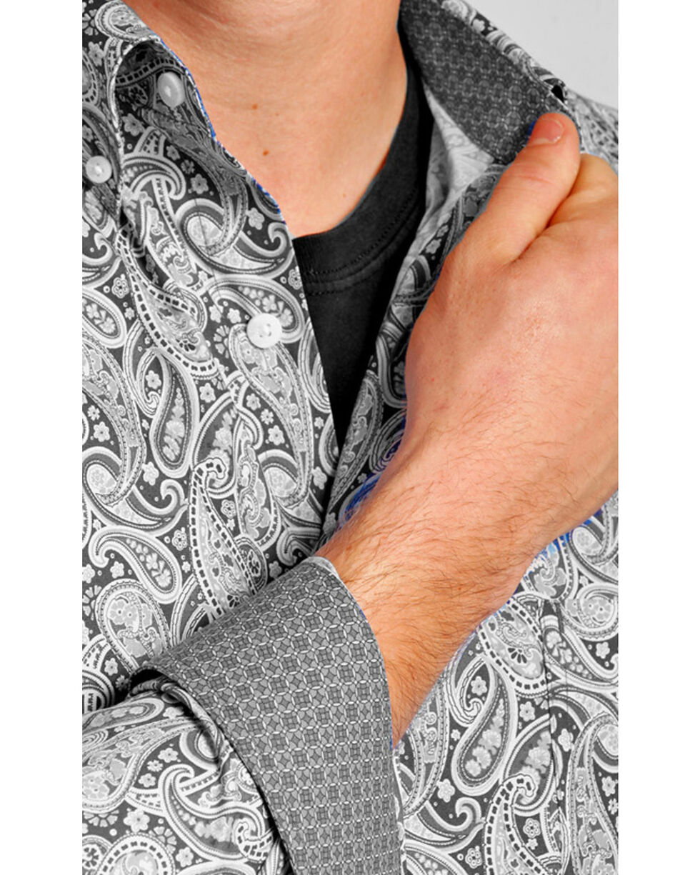 Tuf Cooper Performance Men's Grey Paisley Western Shirt , Grey, hi-res