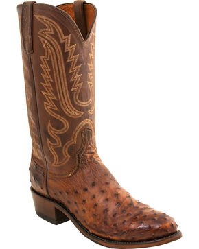 Lucchese Men's Luke Full Quill Ostrich Western Boots - Round Toe, Brown, hi-res