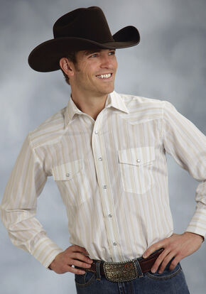 Roper Men's White Snap Stripe Lurex Western Shirt, White, hi-res