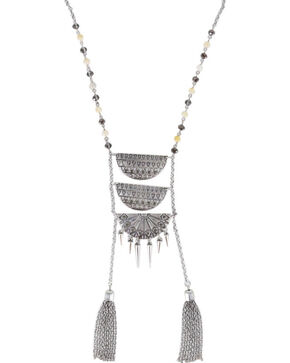 Shyanne Women's Aztec Ladder Link Necklace , Silver, hi-res