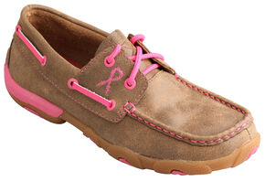 Twisted X Women's Tough Enough to Wear Pink Lace-Up Driving Mocs, Tan, hi-res
