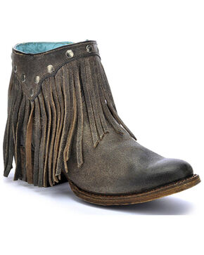 Corral Fringe Ankle Boots - Round Toe, Grey, hi-res