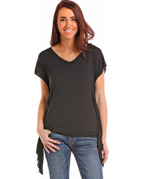 Panhandle Women's V-Neck Fringe Side Tee , Black, hi-res