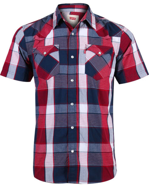 Levi's Men's Short Sleeve Plaid Western Shirt, Red, hi-res