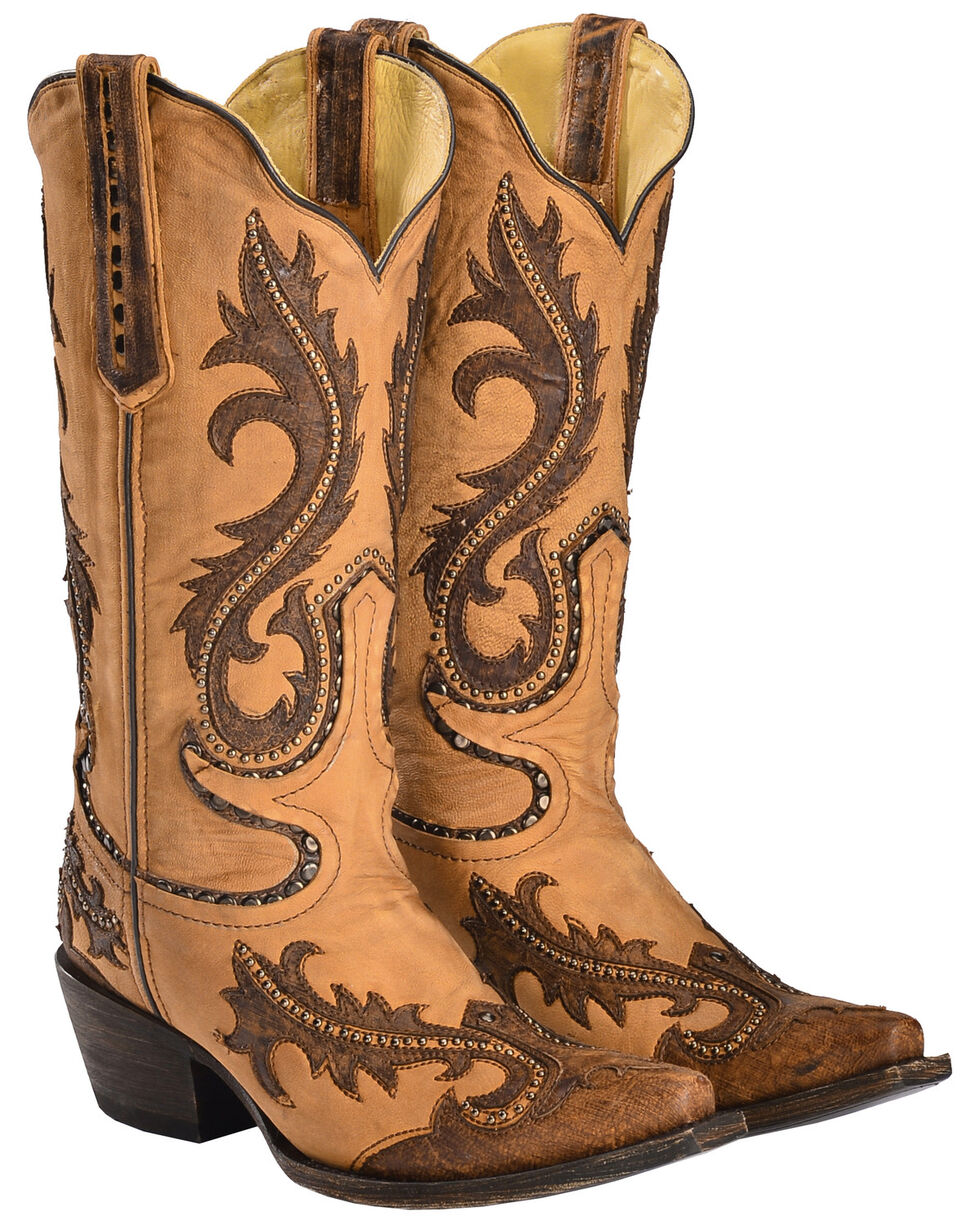 Corral Women's Brown Overlay and Studs Cowgirl Boots - Snip Toe, Brown, hi-res