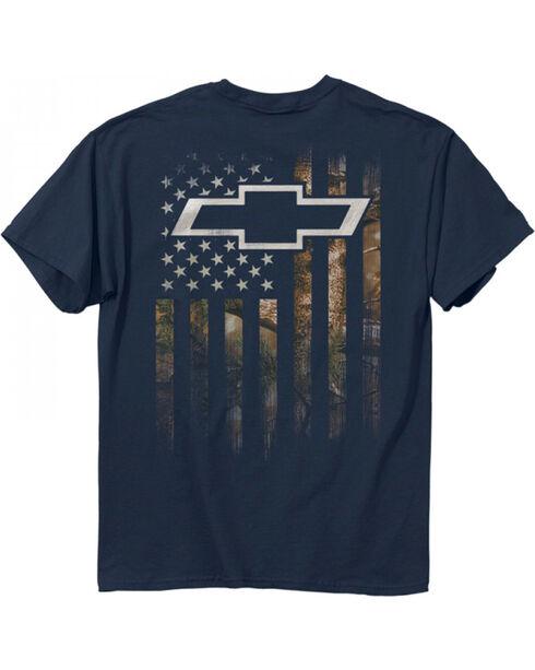 Buck Wear Men's Blue Chevy Camo Accent Flag Tee , Blue, hi-res