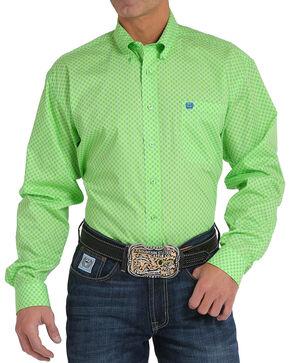 Cinch Men's Lime Printed Plain Weave Long Sleeve Button Down Shirt, Bright Green, hi-res