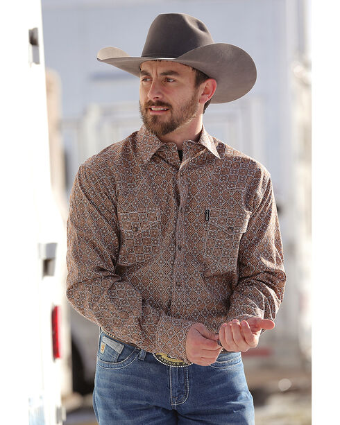 Cinch Men's Brown Geo Print Snap Down Western Shirt , Brown, hi-res