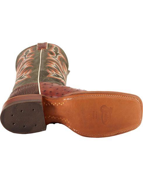 Justin AQHA Jurassic Full Quill Ostrich Cowboy Boots - Square Toe, Brandy, hi-res