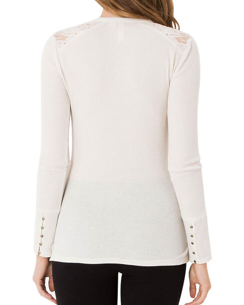 Others Follow Women's Ivory Lace Shoulder Henley , Ivory, hi-res