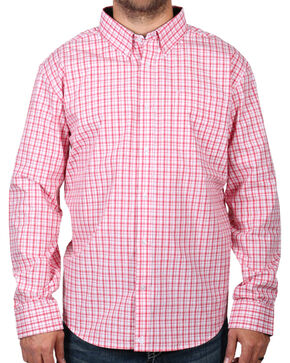Cody James Men's Check Patterned Long Sleeve Shirt - Big and Tall , Peach, hi-res