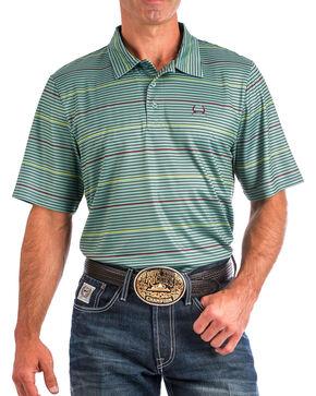 Cinch Men's Green Athletic Tech Striped Polo , Green, hi-res