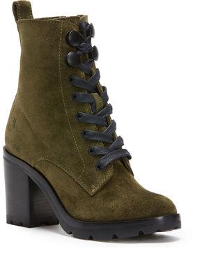 Frye Women's Forest Myra Lug Combat Boots - Round Toe , Dark Green, hi-res