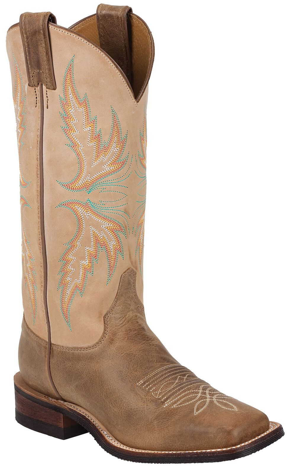 "Justin Bent Rail Women's 13"" Uvalde Mocha Cowgirl Boots - Square Toe, Camel, hi-res"