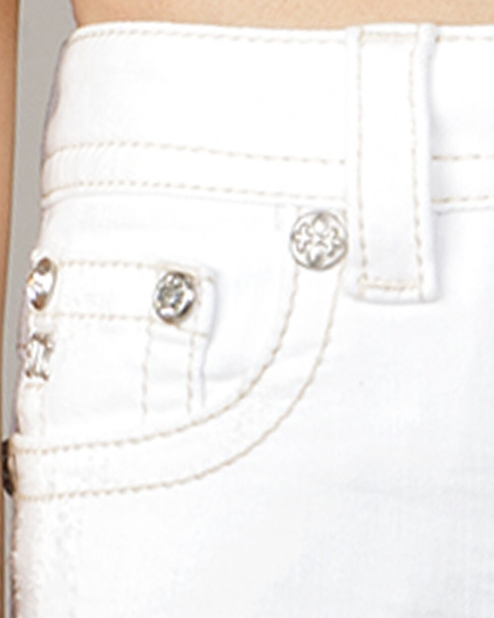 Miss Me Women's Swept Away Mid-Rise Ankle Skinny Jeans, White, hi-res