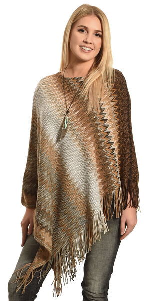 Ryan Michael Women's Sofie's Cozy Zig Zag Poncho, Multi, hi-res