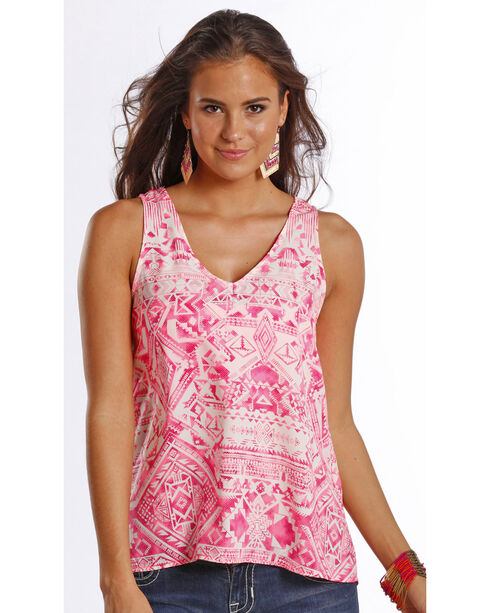 Rock & Roll Cowgirl Women's Pink Printed Georgette Back Tank , Pink, hi-res