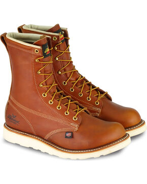 """Thorogood Men's 8"""" Waterproof/Insulated Wedge Sole Boots - Soft Toe, Brown, hi-res"""