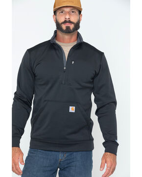 Carhartt Men's Force Extremes Mock-Neck Half-Zip Sweatshirt , Black, hi-res