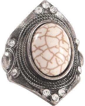 Shyanne Women's Large Gemstone Stretch Statement Ring, Silver, hi-res