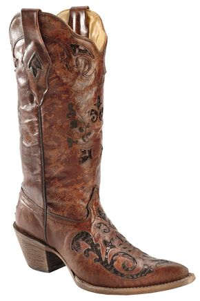 Corral Fango Goat Sequin Inlay Cowgirl Boots - Pointed Toe, Brown, hi-res