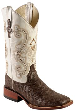 Ferrini Chocolate Anteater Print Cowboy Boots - Wide Square Toe, , hi-res