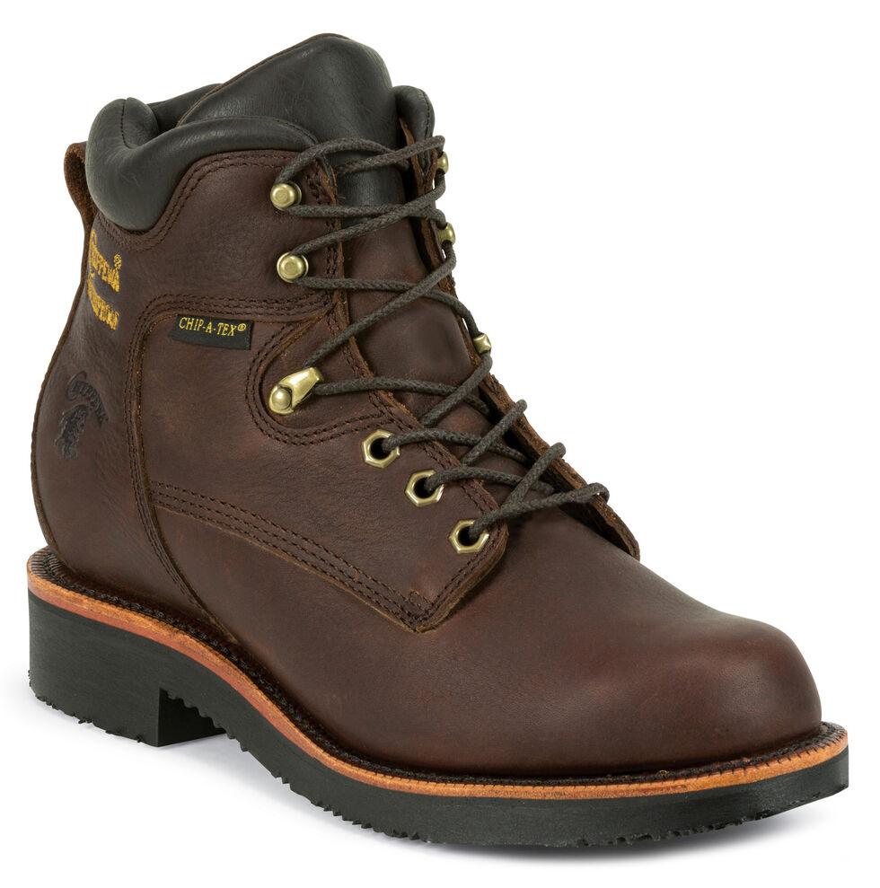 "Chippewa Men's 6"" Rich Oiled Walnut Waterproof Lace Up Boots - Steel Toe, Walnut, hi-res"