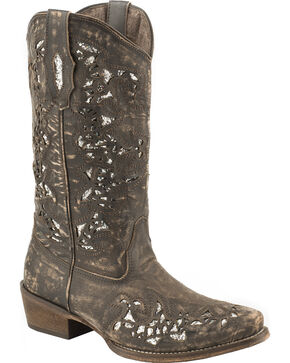 Roper Sanded Leather Brown Glitter Cowgirl Boots - Snip Toe , Brown, hi-res