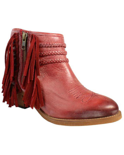 Circle G Women's Woven Ankle Boots - Pointed Toe , Red, hi-res
