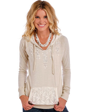 Panhandle Slim Women's Tan Lace Back Pullover Hoodie, Tan, hi-res