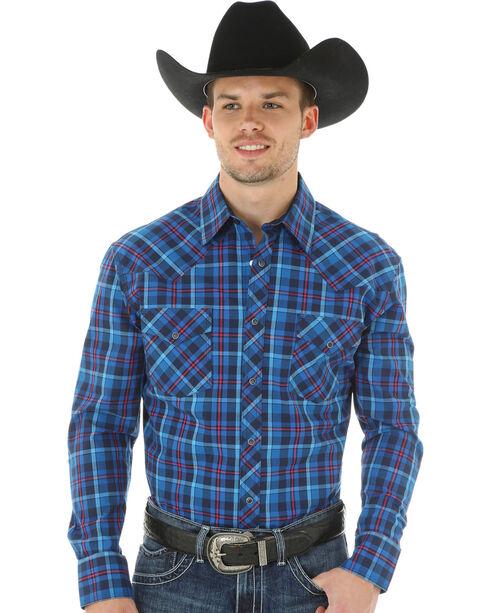 Wrangler 20X Advanced Comfort Men's Blue & Magenta Plaid Shirt, Blue, hi-res