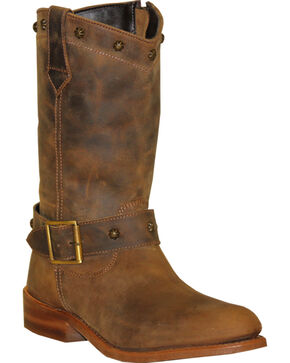 Abilene Sage Brown Strap Wellington Boots - Round Toe , Brown, hi-res