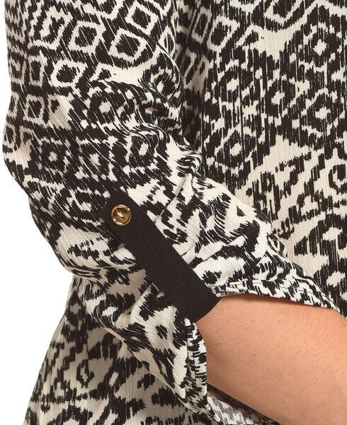 Panhandle Slim Women's Black Diamond Print Lace Peasant Top , Black, hi-res