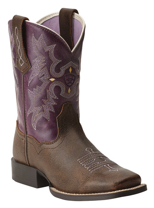 Ariat Youth Girls' Tombstone Boots - Square Toe, Bomber, hi-res