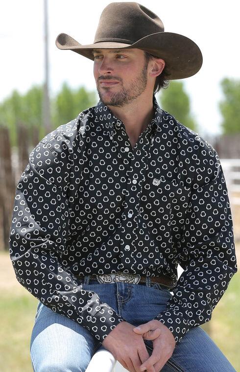 Cinch Men's Black Pattern Long Sleeve Shirt , Black, hi-res