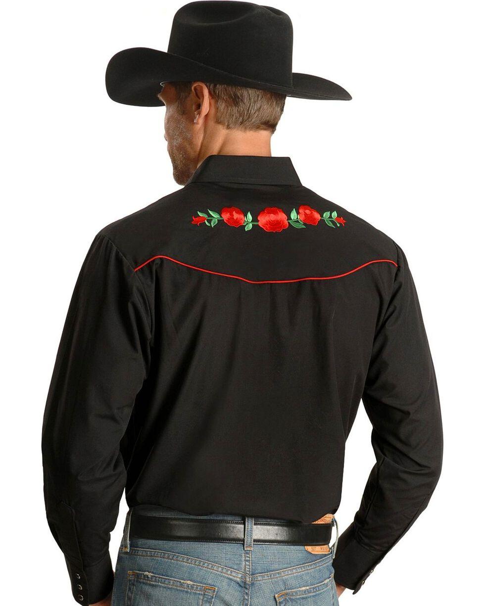 Ely Cattleman Embroidered Rose Design Western Shirt, Black, hi-res