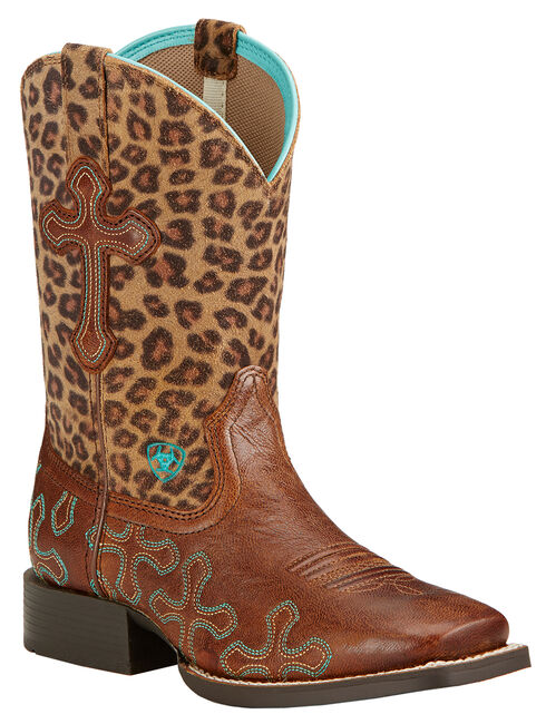 Ariat Youth Girls' Crossroads Cowgirl Boots - Square Toe, Wood, hi-res