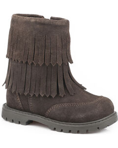 Roper Toddler Girls' Brown Fashion Fringe Moccasin Boots - Round Toe, Brown, hi-res